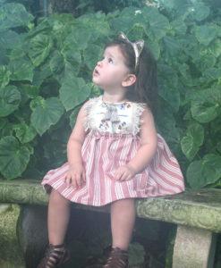 White Pink Hippy Pinafore Girl Dress