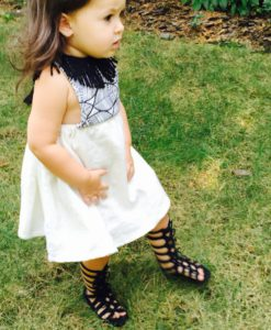 Black White Girls Hippy Dress