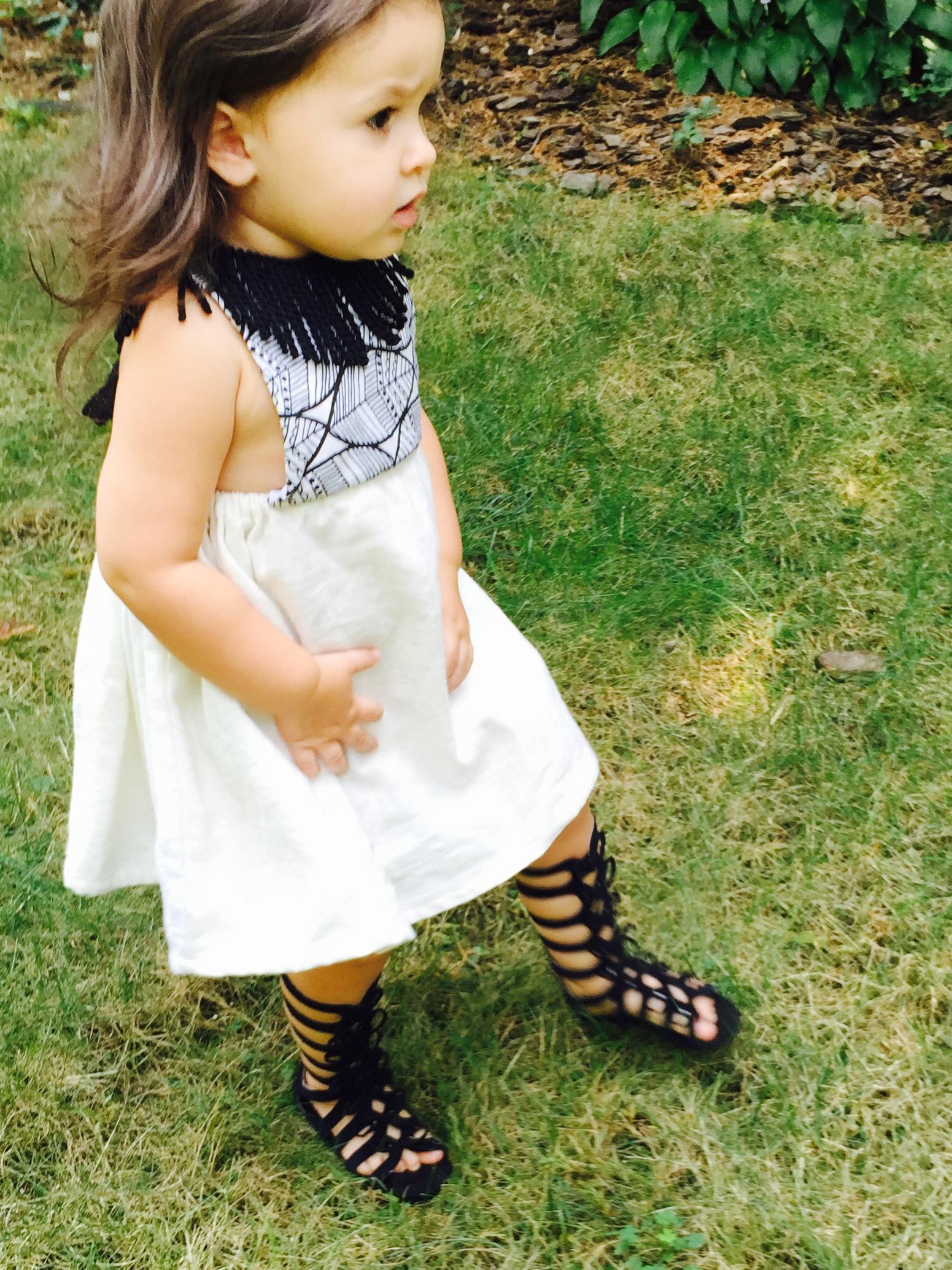 Retro Boho Dress for Girls Vintage Fabric Handmade Boho Dress