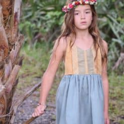 Faux Suede Boho Girls Dress. Vintage Children's Clothes. Handmade Apparel for Girls, Toddlers, and Babies, including Dresses, Rompers, and Bloomers.