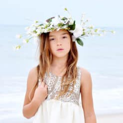 Boho Girl Beach Dress. White Linen Dress for Girls, Children, and Toddlers. Handmade Apparel and Vintage Family Keepsakes.