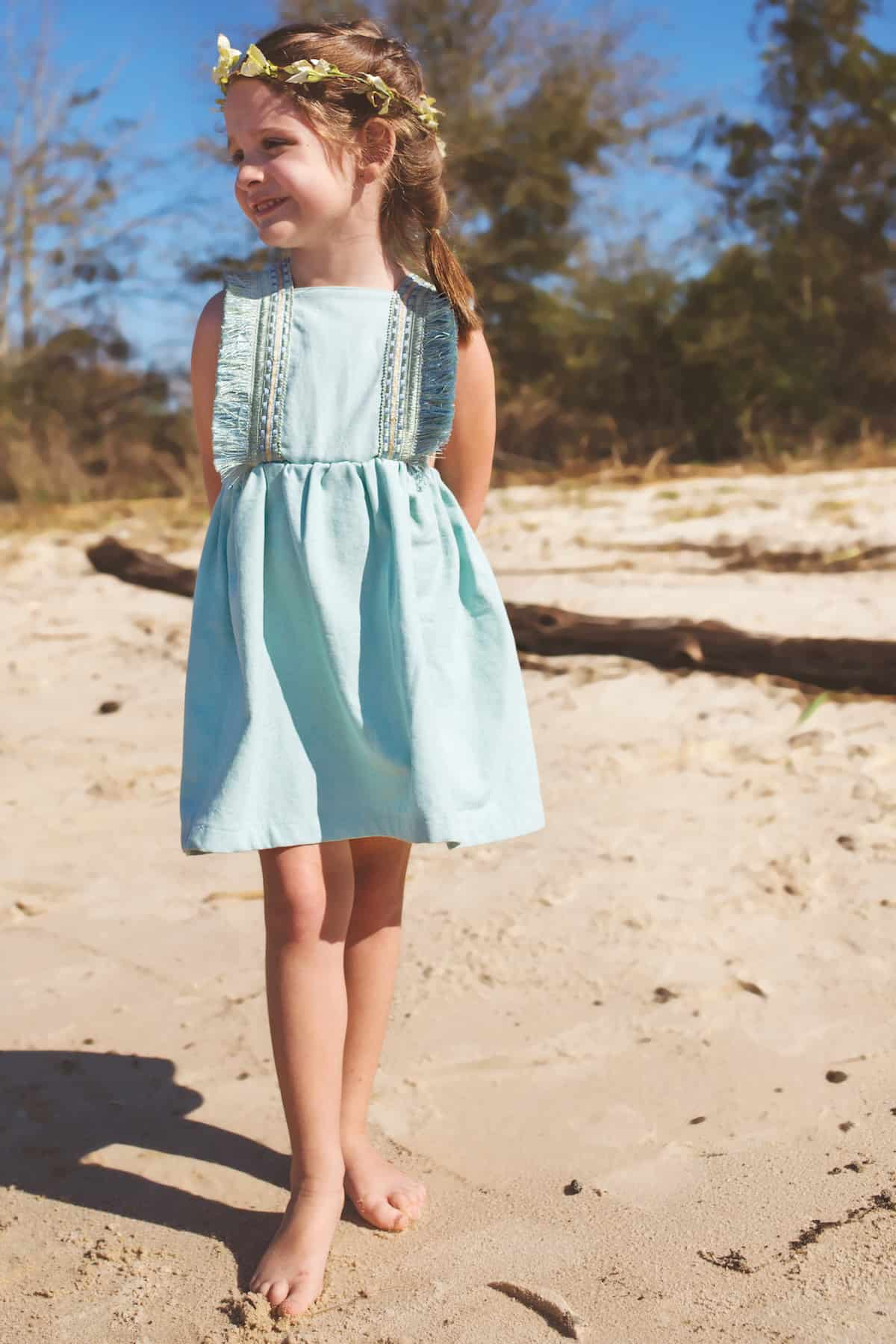Vintage Boho Girls Dress - Handmade Beach Dress for Girls