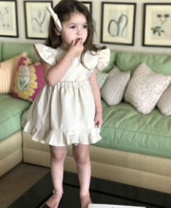 Beige romper dress with red dots 2