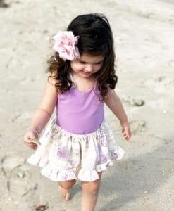 Purple French Skirted Romper Dress